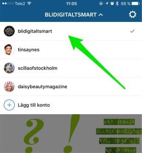 växla mellan konton på Instagram